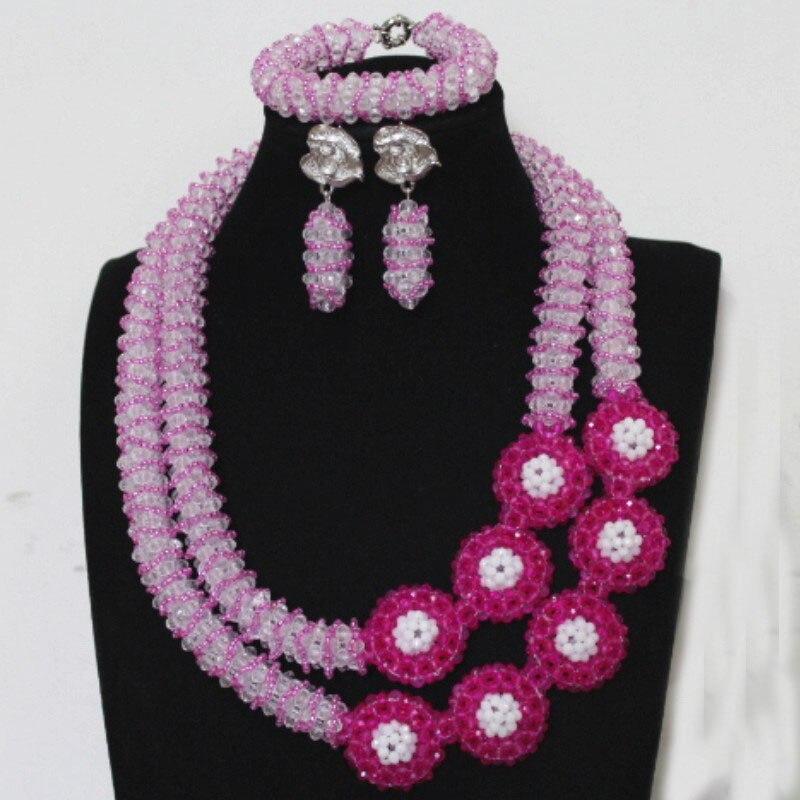 Dudo Godki ensemble de bijoux de luxe pour femmes Fuchsia et blanc ensemble de bijoux de mariée indien cristal perlé ensemble de bijoux fait main 2019 nouveau