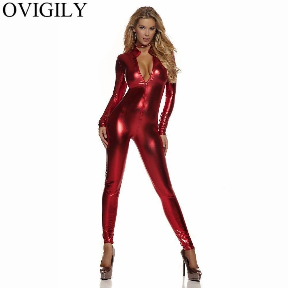 OVIGILY Women Full Body Unitard Black Catsuit Bodysuit Long Sleeve Lycra Red Front Zip Metallic Unitard Turtleneck Jumpsuit Gold