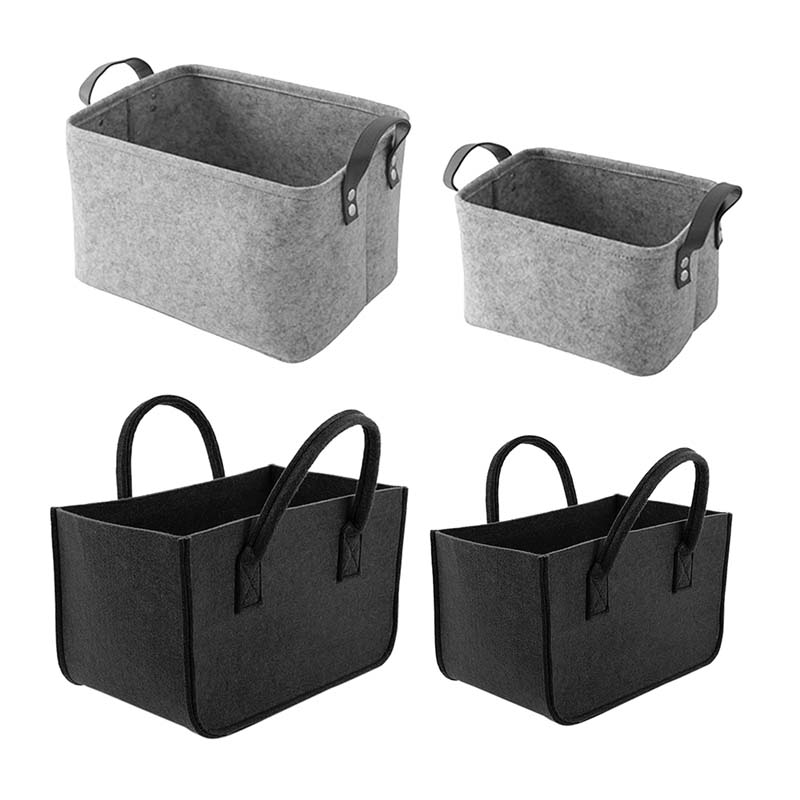 Wool Felt Storage Baskets Foldable Toy Laundry Basket Dirty Clothes Hamper Toy Holder Storage Bag Home Organizer Container 1pcs