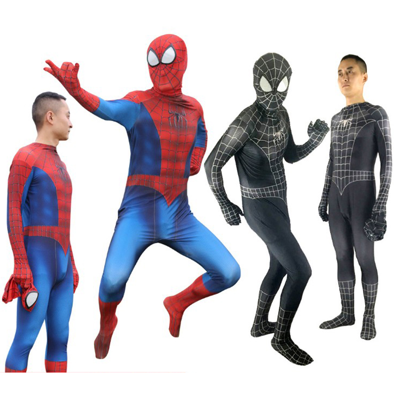 Red Black SpiderMan Cosplay Costume Venom Suit Spandex Lycra Zentai Halloween Spider man Bodysuit For Adult And Kids