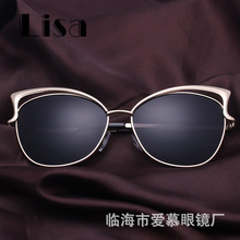 European and American sunglasses, cat's eye, ladies glasses, new metal hollow, fashionable sunglasses wholesale