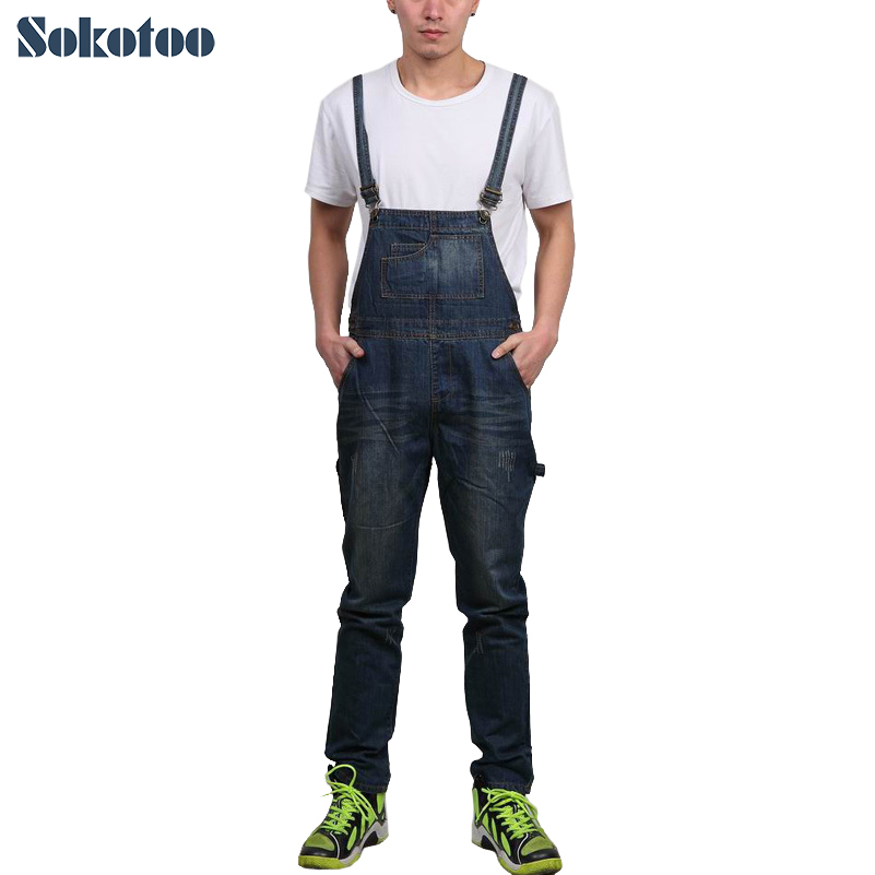 Sokotoo Men's pockets denim overalls Male casual jeans for man Long pants Free shipping