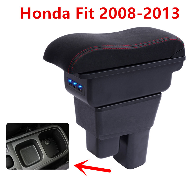 Pour Honda Fit Jazz 2nd génération accoudoir boîte magasin central contenu boîte de rangement avec support de verre cendrier USB interface 2008-2013
