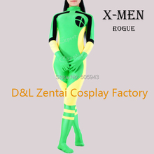 Free Shipping DHL Adult X-Men Rogue Cosplay Costume YKK Zip Lycra Spandex Catsuit Superhero Halloween Idea SH111001