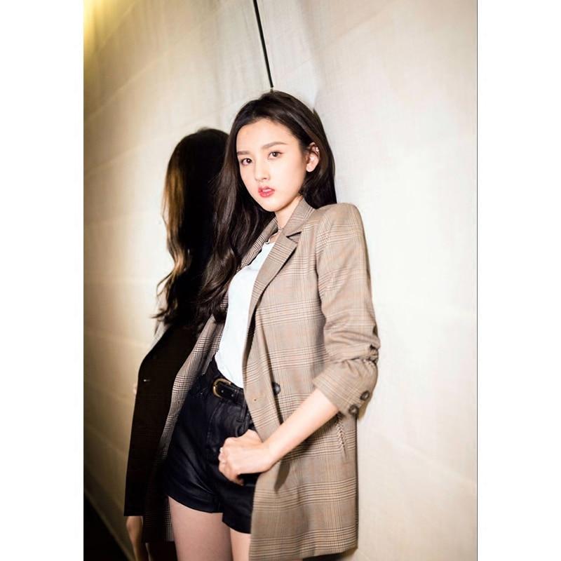 2019 Spring New Medium Long Vintage Plaid Women Plus Size Casual Fashion Blazer Feminino