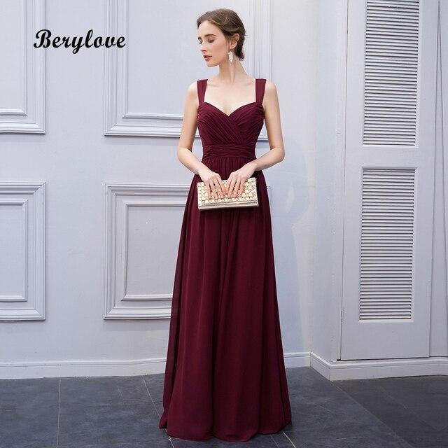 BeryLove Burgundy Straps Evening Dresses 2019 Long Sweetheart ...