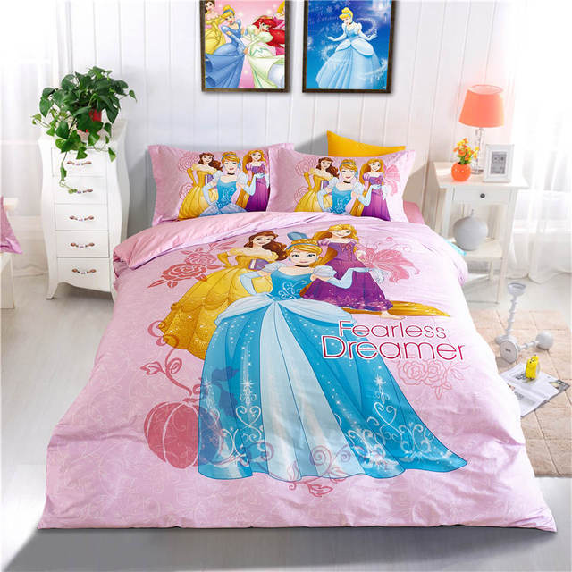 Disney Pink Princess Cartoon 3D Printed Bedding Set Kids