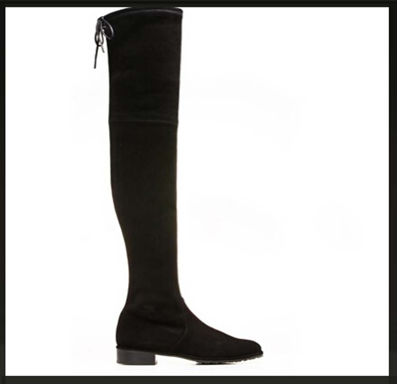Over-the-Knee Boots for Women Winter Warm Long Black Grey Big Size 34-40 Flats Shoes Lace-Up Fashion Motorcycle Boots