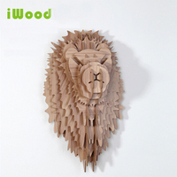 1 set 9 Colors 5mm MDF 24 Inch Wooden Lion Head Wall Hangings For Art Wall Decoration Wood Animals Head Crafts IW WD005