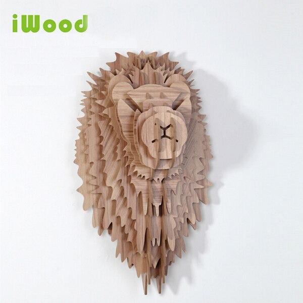 1 set 9 couleurs 5mm MDF 24 pouces tête de Lion en bois tentures murales pour Art décoration murale bois animaux tête artisanat IW-WD005