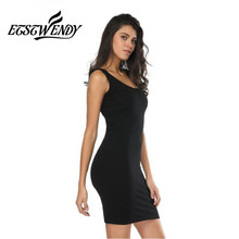Spring Summer 2018 Women Thin Sexy Dress O-neck Sleeveless Package Hip Short Dress Stretch Waist Knitted Cotton Gray Black Dress