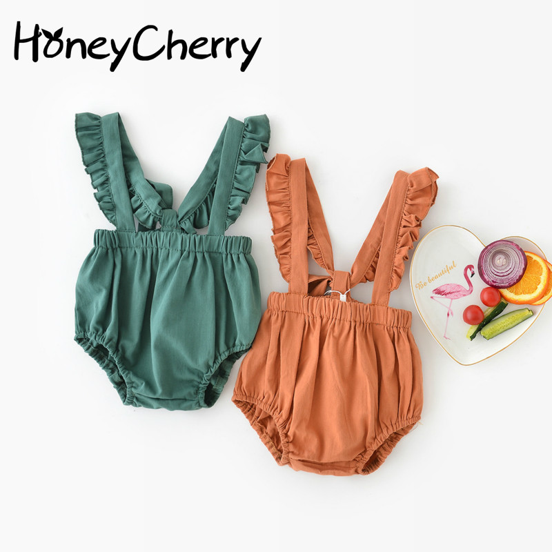 2018 Summer Baby Lotus Side Trousers Girl Romper Overall Kids Children Girl Baby Jumpsuits Girl Romper Costume Overalls Girls