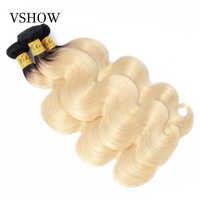 VSHOW Ombre Onda Do Corpo Peruano Feixes de Cabelo 1B/613 Two Tone Platinum Blonde Remy Cor Do Cabelo Humano Raízes Escuras extensões