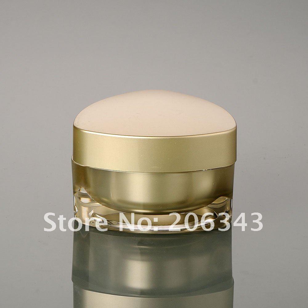 Tarro cuadrado de acrílico de la crema de la forma del oro 30G, - Herramienta de cuidado de la piel