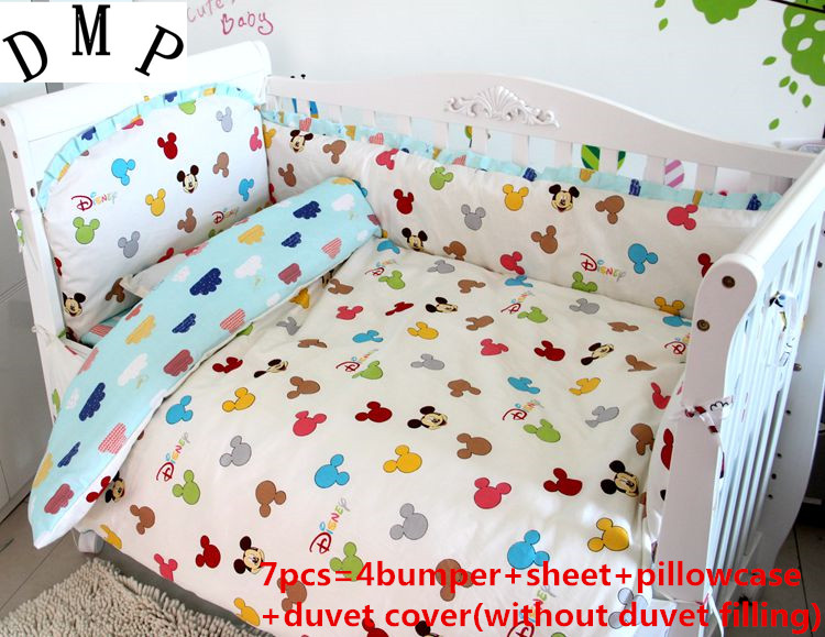 Promotion! 6/7PCS Cartoon baby bedding set , summer baby crib bedding, cotton baby bedding,, 120*60/120*70cm