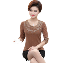 WAEOLSA Spring Women Slim Fit Blouses Khaki Black Basic Tops Middle Aged Woman Sequined Blouse Lady Chic Top Lace Neck Tunic 4XL