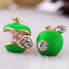 Green Red Apple Earring Crystal Rhinestone Asymmetric Stud Earrings Gold Color Zircon Jewelry Fashion Women Ear Accessories(China)