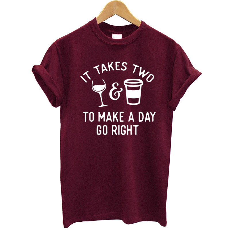 100% Cotton T <font><b>Shirt</b></font> Women Short Sleeves Round Neck Funny <font><b>Wine</b></font> and Coffee Printed Summer Tops 2020 Streetwear Tee <font><b>Shirt</b></font> Hipster image