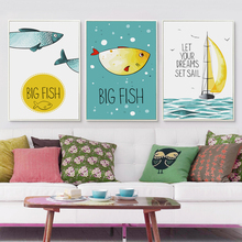 Bianche Wall Fish and Boat Cartoon Decoration Art Canvas Painting Print Poster Picture Paintings Home Bedroom Decor