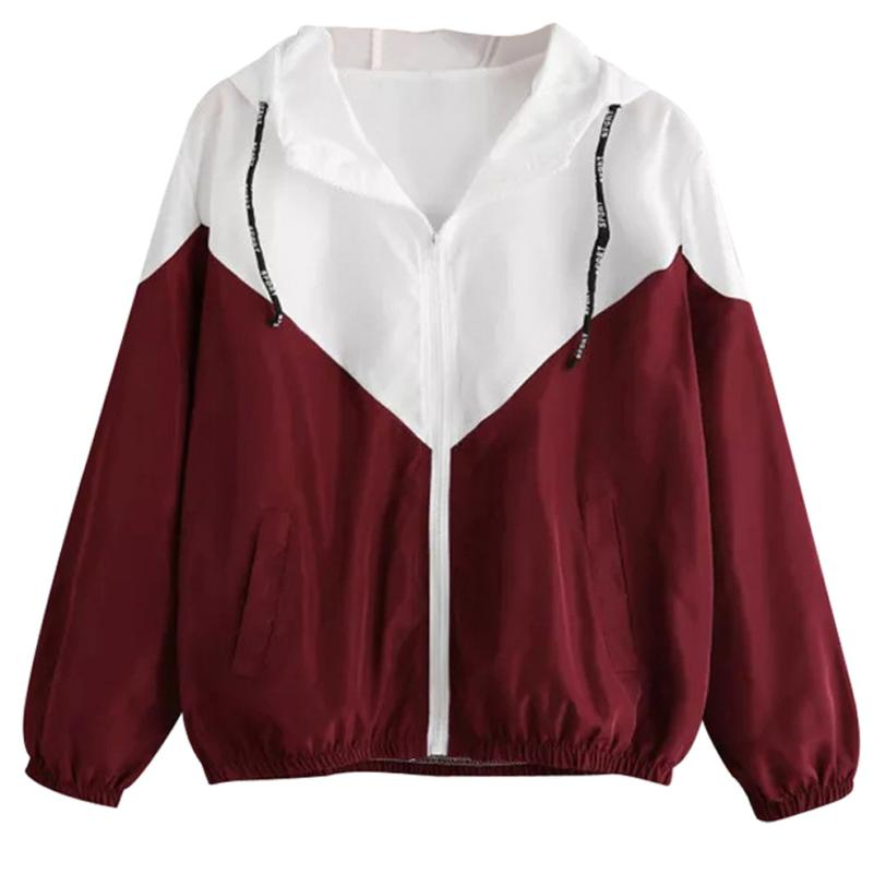 Outerwear & Coats Jackets Fashion Rose Thin Skinsuits Hooded Zip Floral Pockets Sport Coats And Jackets Women 2018AUG10