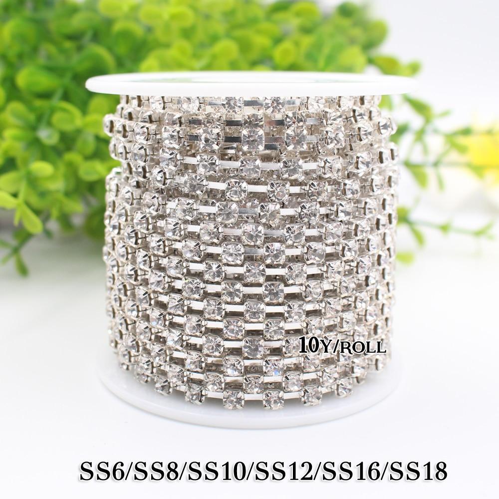 Rhinestone Chain 10yardlot crystal strass chain rhinestones silver base stones cup chain Thin rhinestone trim chain 2018hot