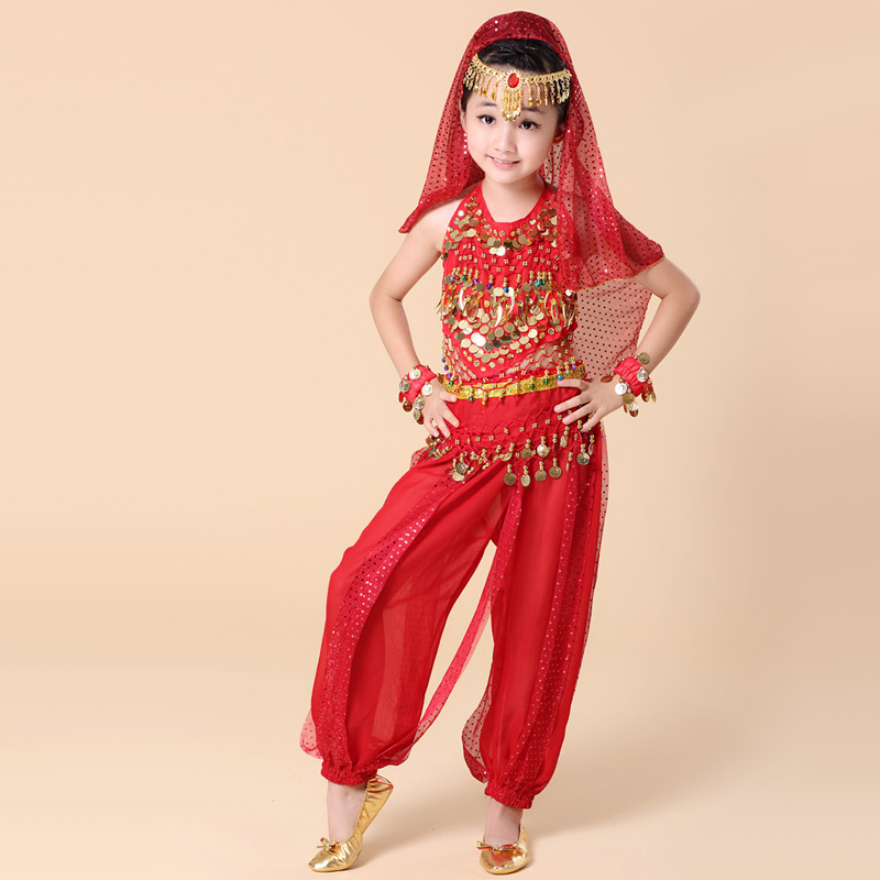 2016 Belly Dance Costumes Kids Girls Indian Clothing Bollywood Costumes Dance Bellydance Tribal Dance Costume Gypsy