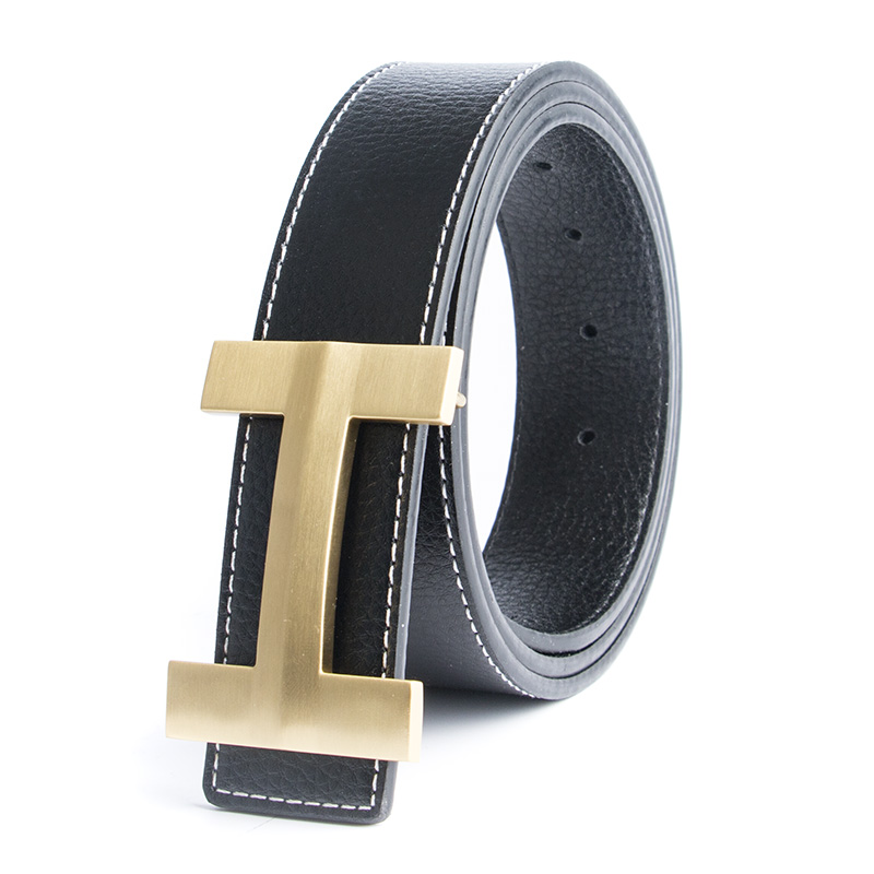ECHAIN Solid Brass Luxury H Buckle Brand Designer   Belts   Men High Quality Women Punk Genuine Real Leather Male Strap for Jeans