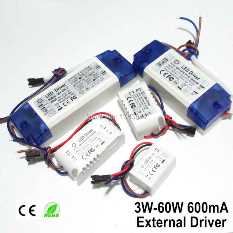2 uds. Fuente de alimentación LED, controlador de lámpara de 600Ma, 3W, 6W, 9W, 12W, 15W, 18W, 20W, 21W, 24W, 30W, 40W, 50W, 60W, transformador de iluminación aislante
