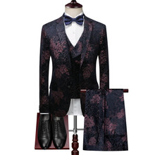 купить Autumn and winter velvet plant flower print Slim suit three-piece high-end luxury dinner mens blazer single-breasted lapel suits дешево