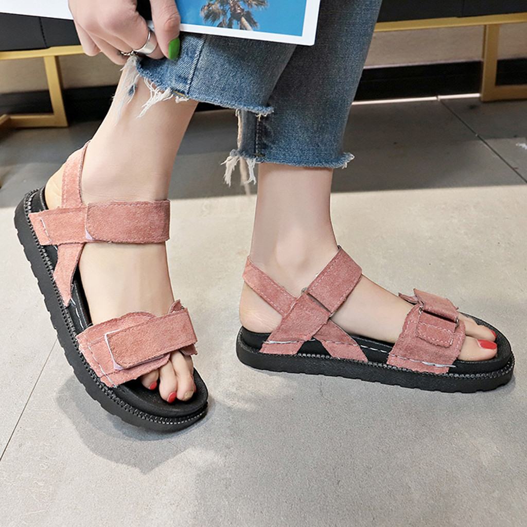 2019 Frauen Flache Sandalen Dicken Boden Sommer Schuhe Plattform Sandalen Frauen Casual Strand Sandalen Offene Spitze Schuhe