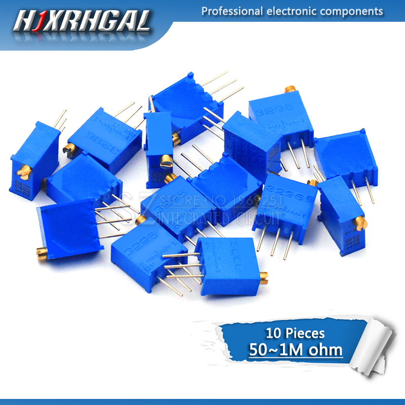 1PCS 3296W 3296 50 100 200 500 Ohm 1K 2K 5K 10K 20K 50K 100K 200K 500K 1M Ohm 103 100R 200R 500R Trimpot Trimmer Potentiometer