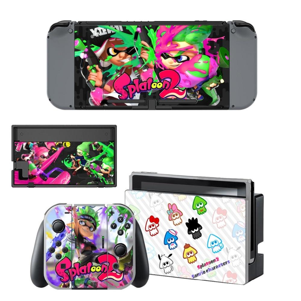Купить с кэшбэком NS Nintend Switch Vinyl Skins Sticker For Nintendo Switch Console and Controller Skin Set - For Game Splatoon 2