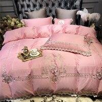 Египетский хлопок домашний текстиль постельные принадлежности комплекты Роскошный розовый принцесса Кружевное стеганое одеяло покрывало