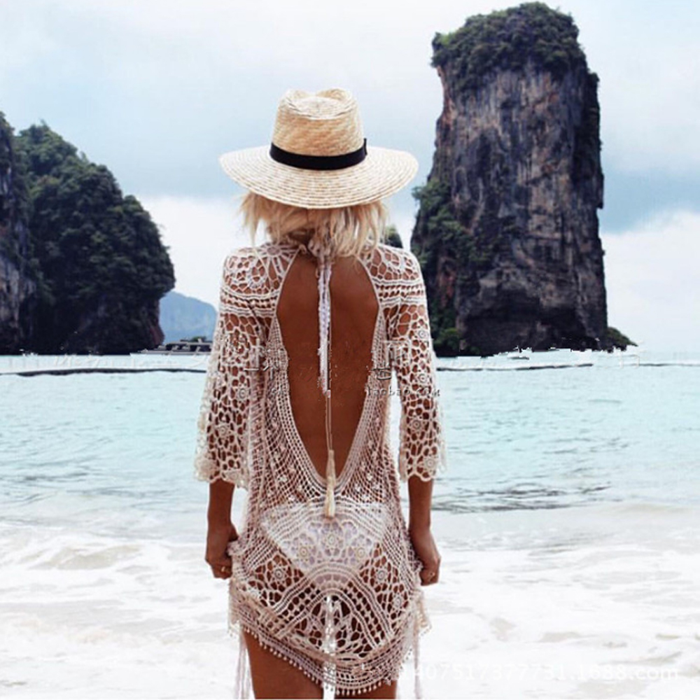 Sexy Backless Bikini Cover Up Knitted Swimsuit Cover Up Sexy Summer Dress Crochet Beach Dress Hot Sale Hollow Beach Wear women s strapless lace beach dress sexy beach cover up summer dress