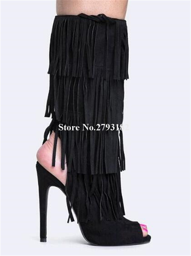 Brand Design Women Fashion Open Toe Black Suede Tassels Mid-calf Gladiator Boots Cut-out High Heel Fringed BootsBrand Design Women Fashion Open Toe Black Suede Tassels Mid-calf Gladiator Boots Cut-out High Heel Fringed Boots