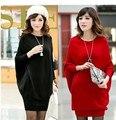 Тянуть роковой 2015 новых корейских Большой размер женщин осень и зима одежды рукава летучая мышь о-образным вырезом с свитер платье женский негабаритных свитера