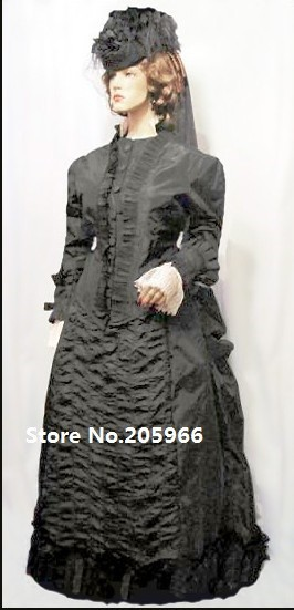 1881 Victorian Mourning Bustle Gown Reproduction of Country Music Artist PATTY LOVELESS's Dress image