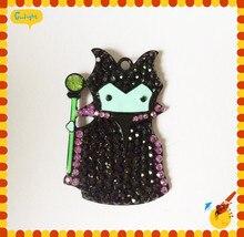 Envío gratis 50 * 35 mm 10 unids/lote aleación plateada plata bruja de Halloween del colgante del Rhinestone para el niño de collar de la joyería