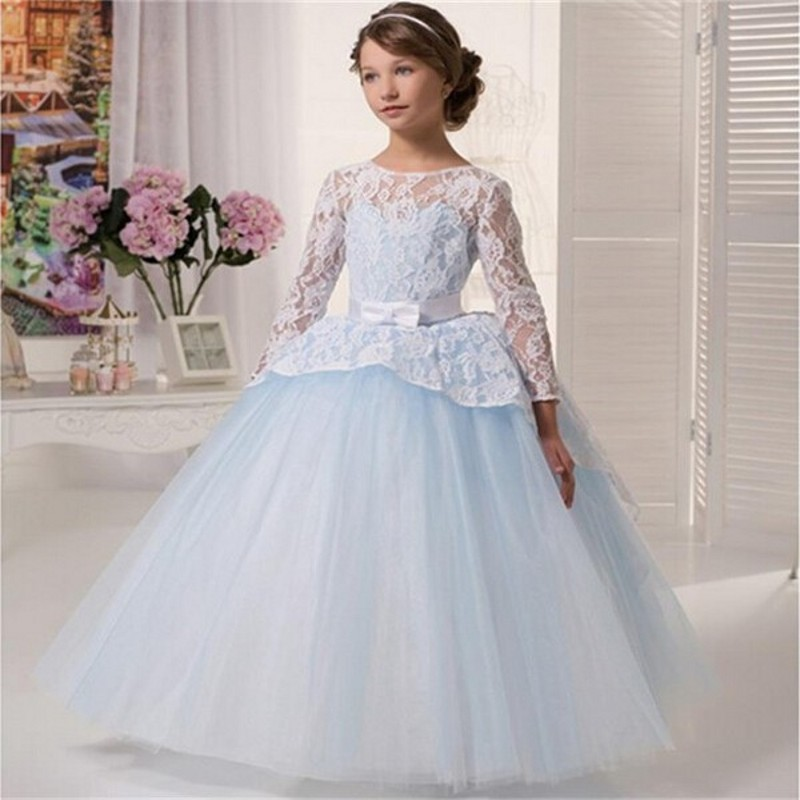 b7005d03be3e3 Lace Flower Girl Dresses 2016 Custom Backless Long Sleeve Baby Blue Ball Gown  Little Girls Pageant Gowns First Communion Dresses