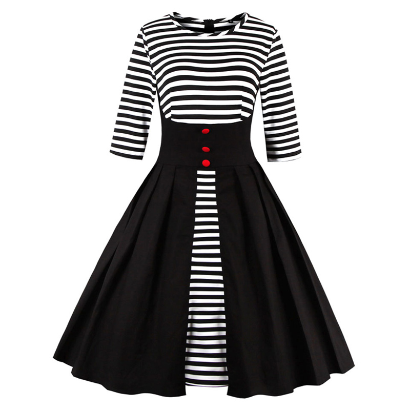 Womens Black And White Striped Dress 34 Sleeve Patchwork -7546