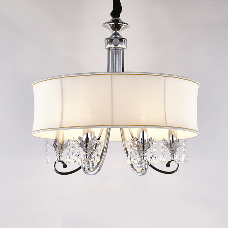 6 Lights European Crystal Pendant Light Dinning Room Bedroom Drum Fabric  Hanging Lamp Kitchen Lighting Fixtures