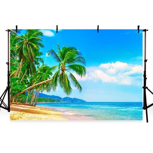 MEHOFOTO Summer Theme Vinyl Photography Backdground Seaside Beach Ocen Coconut Tree Island Solarium Children Backdrops G 503