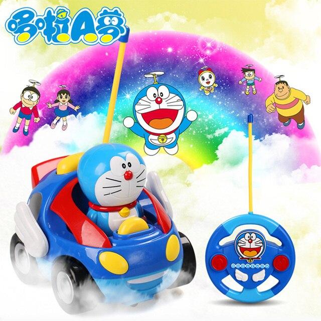 1 PC Natal Tinir Gatos Brinquedos Carro de Corrida de Controle Remoto Azul 12 CM ABS Carro Elétrico Música Dos Desenhos Animados das Crianças Na Moda Moda brinquedo