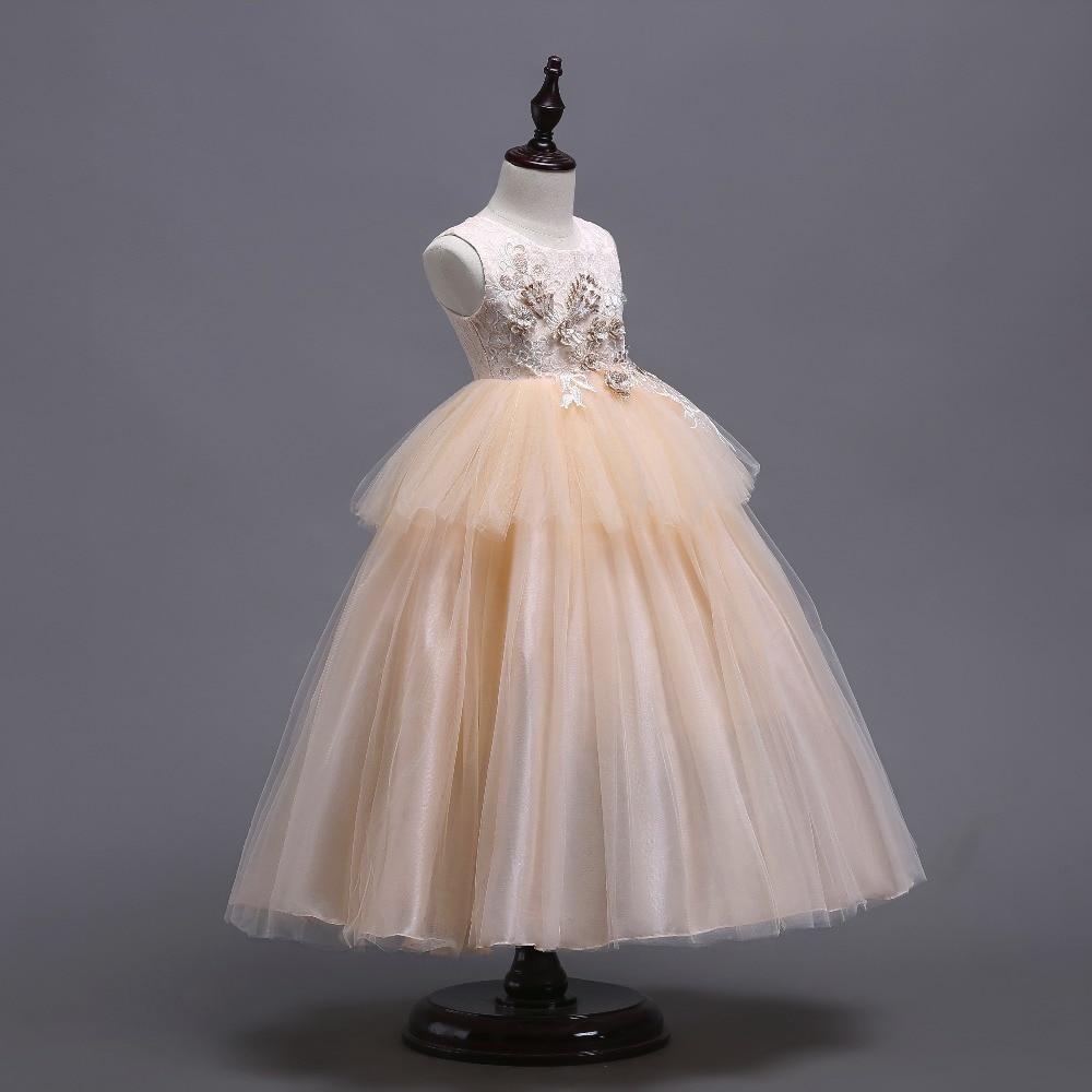 Champagne Ball Gown Flower Girl Dresses Tulle 2018 Appliqued Dresses ...