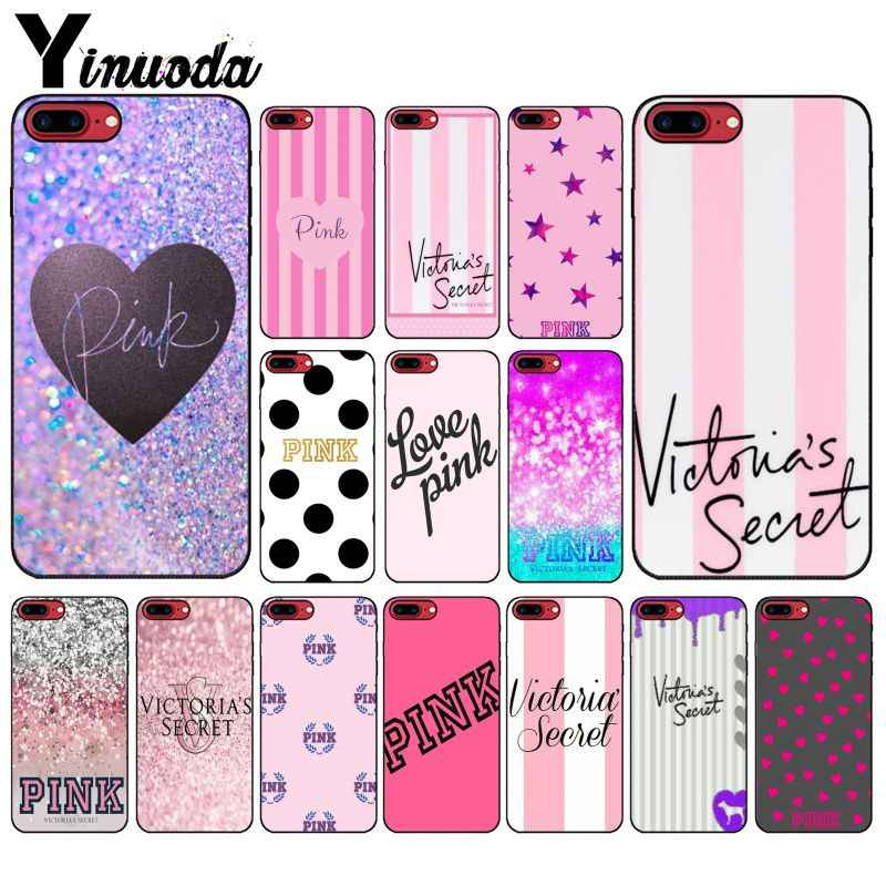 Yinuoda Brand NEW Victoria LOVE PINK Soft Silicone black Phone Case for Apple iPhone 8 7 6 6S Plus X XS MAX 5 5S SE XR Cover