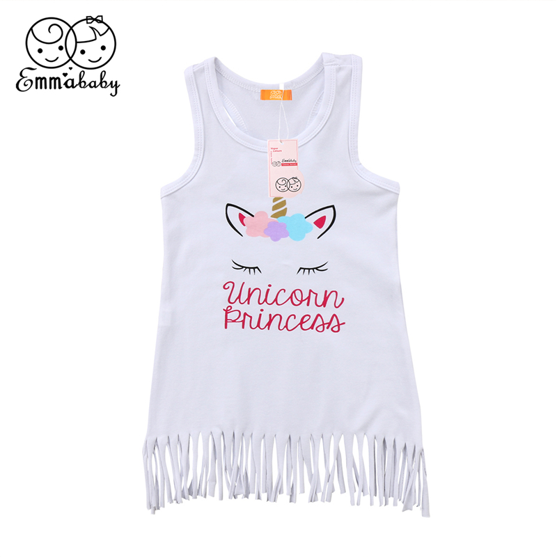 Toddler Kids Baby Girl Summer Beach Sleeveless Tassel Dress Tops Vest Sundress