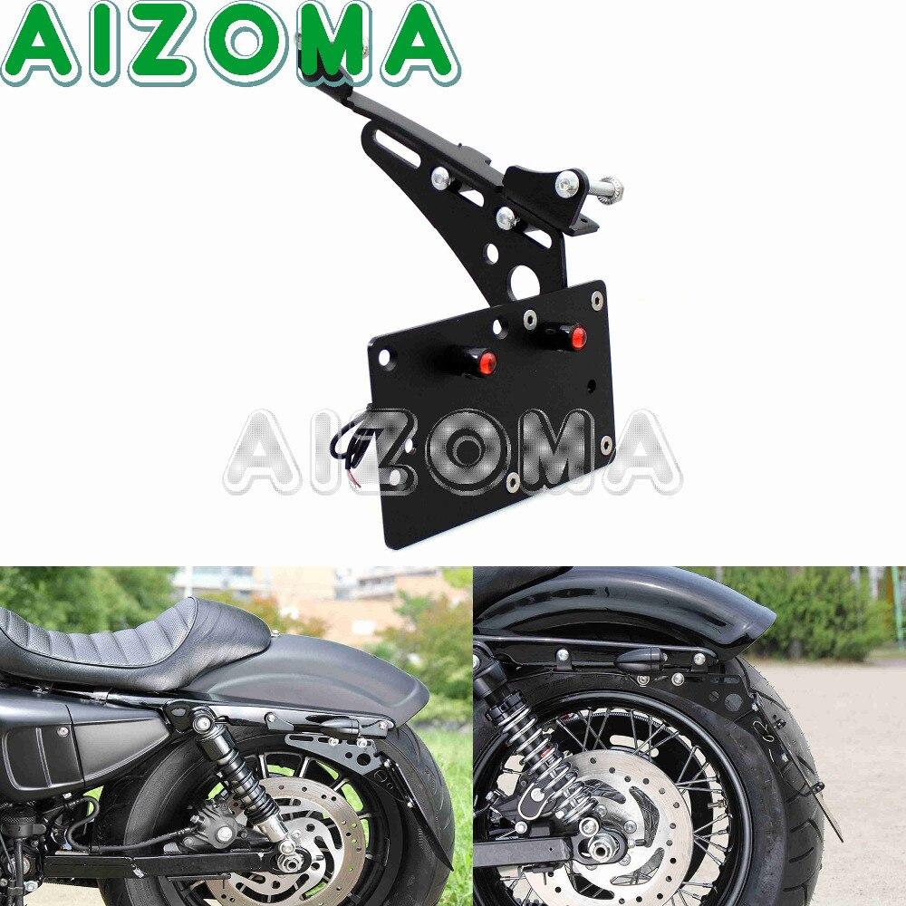 Motorcycle Black Side Mount Licence Plate Bracket LED Light Frame Holder For Harley Dyna FXD Sportster XL883 XL1200 2004-2017