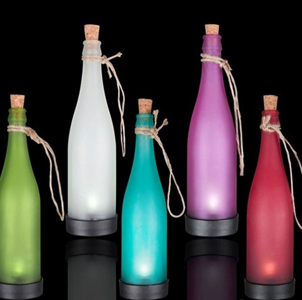 New 5pcs Lot Colorful Solar Bottle Lights Ip44 Waterproof Outdoor Lawn Light Led Plastic Bottles Modeling Lamp