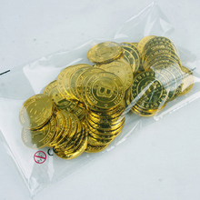 Wholesale 500pcs plastic Bitcoin BTC coin GOLD pirate treasure coins props toys for Halloween party cosplay kids favors prizes