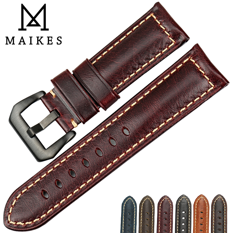 MAIKES Vintage red Italian cow leather watch strap 22mm 24mm 26mm watch accessories bracelet watchbands for Panerai watch band maikes 18mm 20mm 22mm watch belt accessories watchbands black genuine leather band watch strap watches bracelet for longines